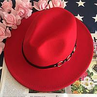 Шляпа Федора унисекс с устойчивыми полями Rings красная, фото 1