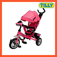 Велосипед трехколесный TILLY STORM розовый (T-349 Розовый), большой капюшон, музыкальная фара, Тили Шторм