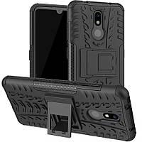 Чехол Armored для Nokia 3.2 противоударный бампер с подставкой черный