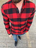 😜Рубашка - мужская теплая байковая рубашка красная
