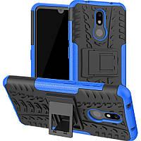 Чехол Armored для Nokia 3.2 противоударный бампер с подставкой синий