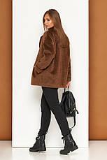 Классическое укороченное демисезонное пальто шерсть длинноворосовое свободного силуету Р-39 размер 42 44 46 48, фото 3