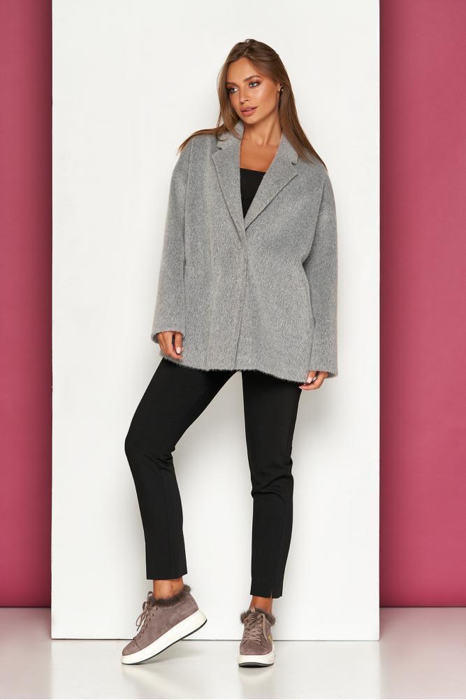 Классическое укороченное демисезонное пальто шерсть длинноворосовое свободного силуету Р-39 размер 42 44 46 48