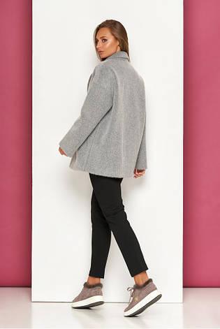 Классическое укороченное демисезонное пальто шерсть длинноворосовое свободного силуету Р-39 размер 42 44 46 48, фото 2