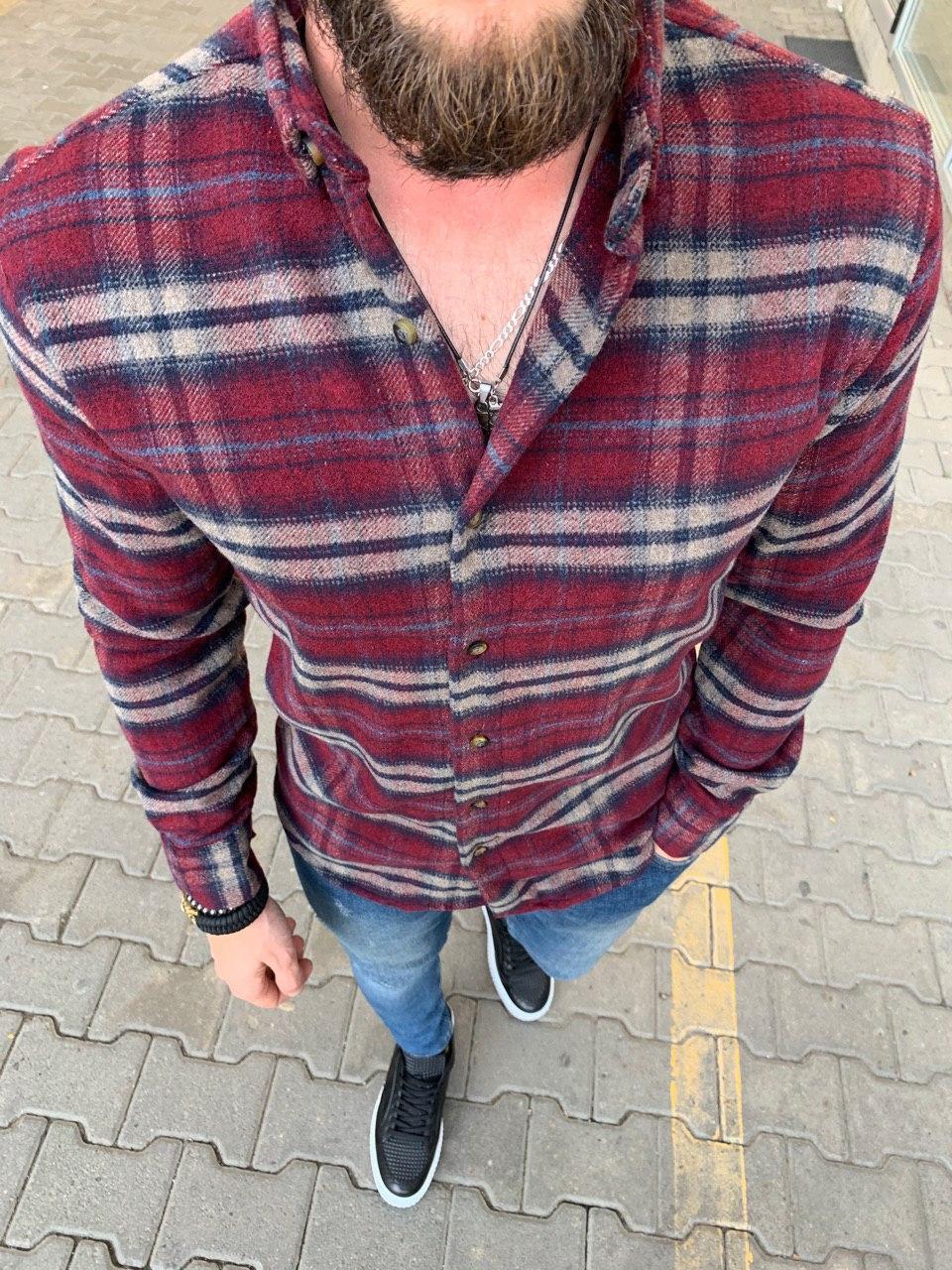 😜Рубашка - мужская теплая байковая рубашка бордовая
