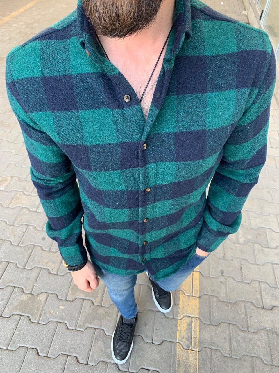 😜Рубашка - мужская теплая байковая рубашка зеленая