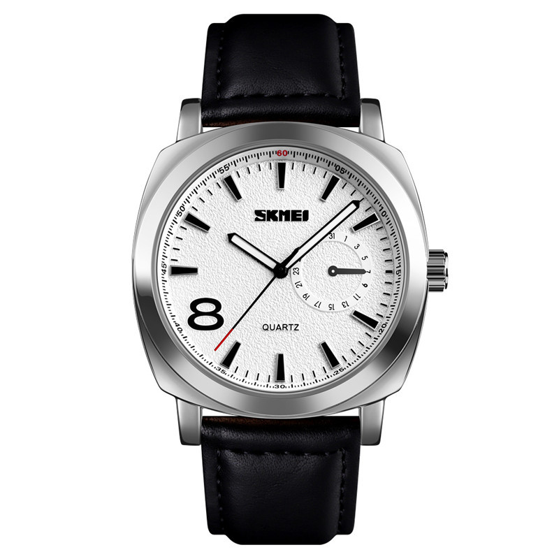 Skmei 1466 сріблясті c чорним ремінцем чоловічі класичні годинник