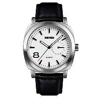 Skmei 1466 сріблясті c чорним ремінцем чоловічі класичні годинник, фото 1
