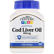 """Масло печени трески, 21st Century """"Norwegian Cod Liver Oil"""" здоровье сердца (110 гелевых капсул)"""