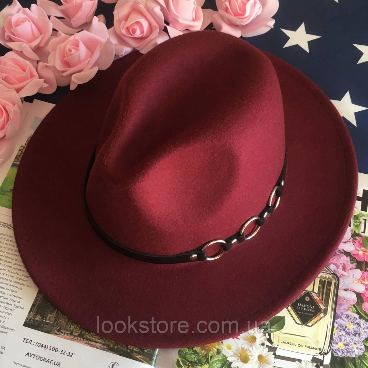 Шляпа Федора унисекс с устойчивыми полями Rings бордовая (марсала)