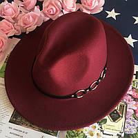 Шляпа Федора унисекс с устойчивыми полями Rings бордовая (марсала), фото 1