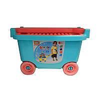 Игровой набор: Детская тележка для игрушек + конструктор 56 деталей