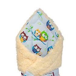 """Конверт - одеяло на выписку """" Совушки на голубом"""" на молочной травке,  утепленный"""