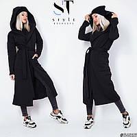 Модное длинное женское пальто