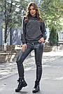 Толстовка женская молодёжная, р. от 40 до 50, двунитка чёрный меланж, фото 4
