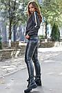 Толстовка женская молодёжная, р. от 40 до 50, двунитка чёрный меланж, фото 5