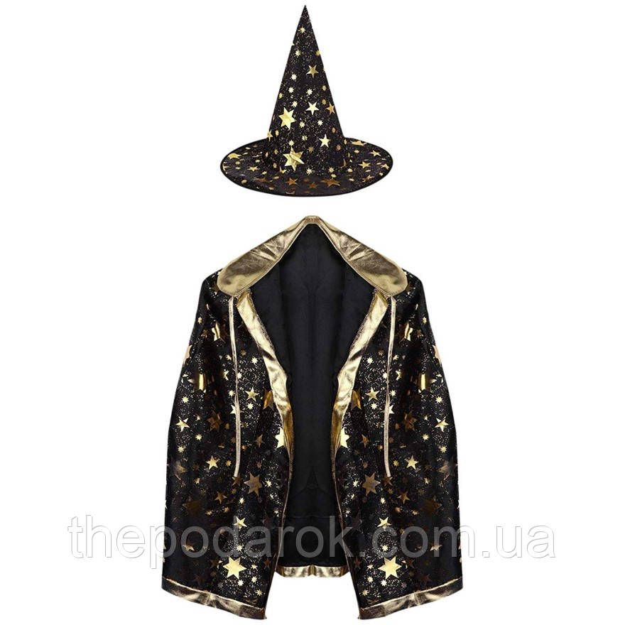 Детский костюм Волшебника черный (Плащ 85см)