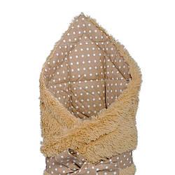 """Конверт - одеяло на выписку """"Горошинка"""" на коричневой травке,  утепленный"""