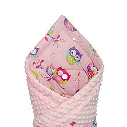 """Конверт - одеяло на выписку """"Совушки на розовом"""" на розовом плюше, утепленный"""