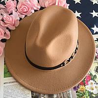 Шляпа Федора унисекс с устойчивыми полями Rings бежевая, фото 1