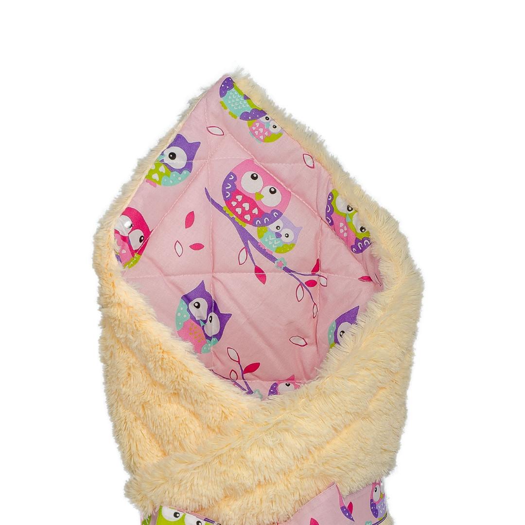"""Конверт - одеяло на выписку """" Совушки на розовом"""" на молочной травке,  утепленный"""