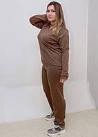 Костюм женский брюки и кофта трикотажный хаки. Батал