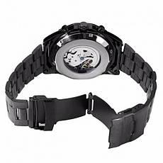 Мужские механические наручные часы в стиле Winner Skeleton Luxury Black, фото 3