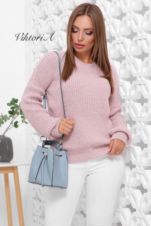 Вязаный женский свободный свитер со спущенным плечом 81ddet653