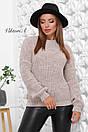 Вязаный женский свободный свитер со спущенным плечом 81ddet653, фото 3