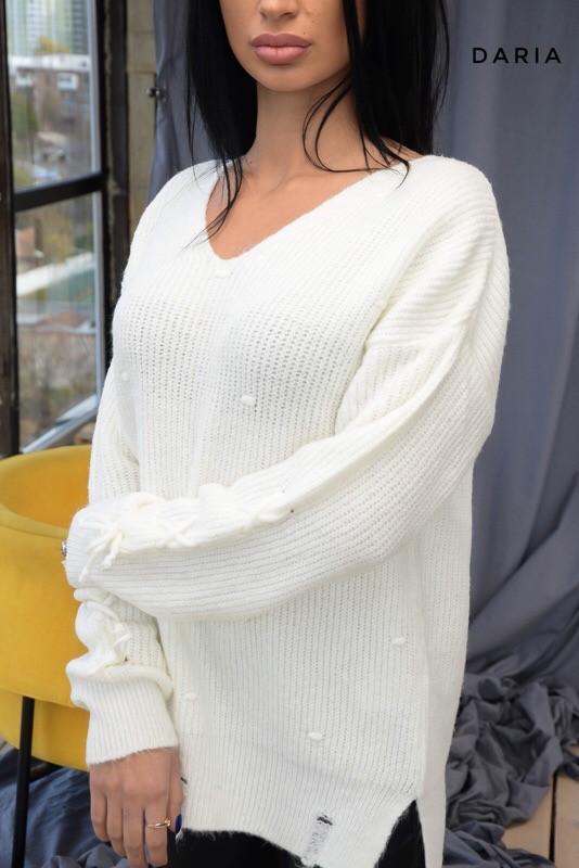 Женский свободный вязаный свитер удлиненный и V-вырезом 55ddet665