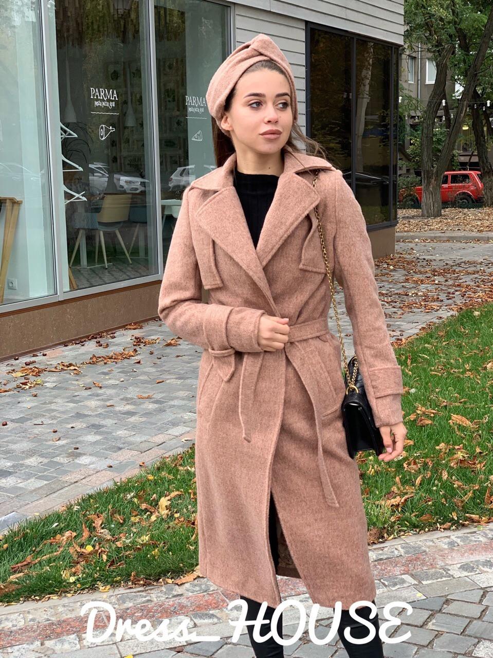 Женское Пальто кашмировое на запах под пояс 5pal234