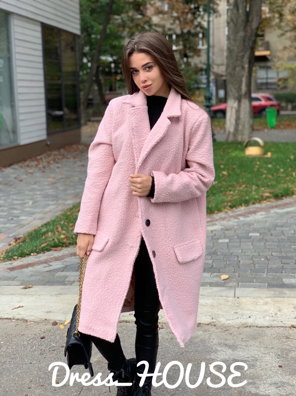 Буклированное Пальто оверсайз с отложным воротником 5pal235