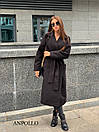 Кашемировое Пальто женское миди под пояс с отложным воротником 17pal236, фото 4