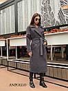 Кашемировое Пальто женское миди под пояс с отложным воротником 17pal236, фото 5