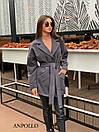 Короткое женское кашемировое Пальто под пояс с лацканами 17pal237, фото 4