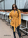 Короткое женское кашемировое Пальто под пояс с лацканами 17pal237, фото 5