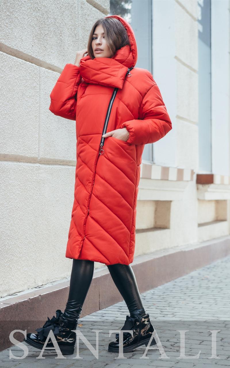 Женская удлиненная плащевая куртка с капюшоном и воротником 45kur163