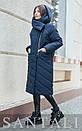 Женская удлиненная плащевая куртка с капюшоном и воротником 45kur163, фото 2