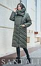 Женская удлиненная плащевая куртка с капюшоном и воротником 45kur163, фото 3