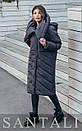 Женская удлиненная плащевая куртка с капюшоном и воротником 45kur163, фото 4