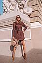 Замшевое платье на пуговицах и с поясом 14pal227, фото 3