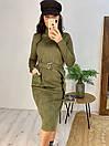 Замшевое платье до колен с поясом на талии и воротником 58pal233, фото 4