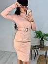 Замшевое платье до колен с поясом на талии и воротником 58pal233, фото 5