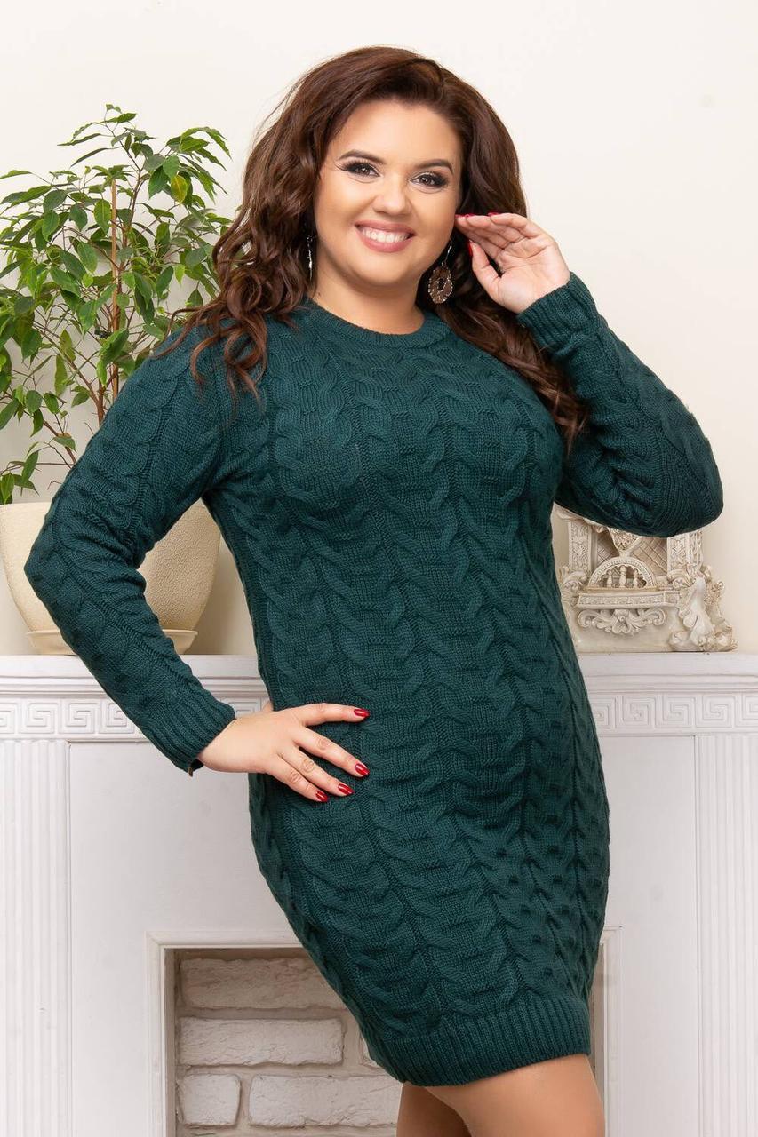 Осеннее платье больших размеров зеленый