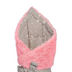 """Конверт - одеяло на выписку """"Звездопад"""" на розовой травке,  утепленный"""