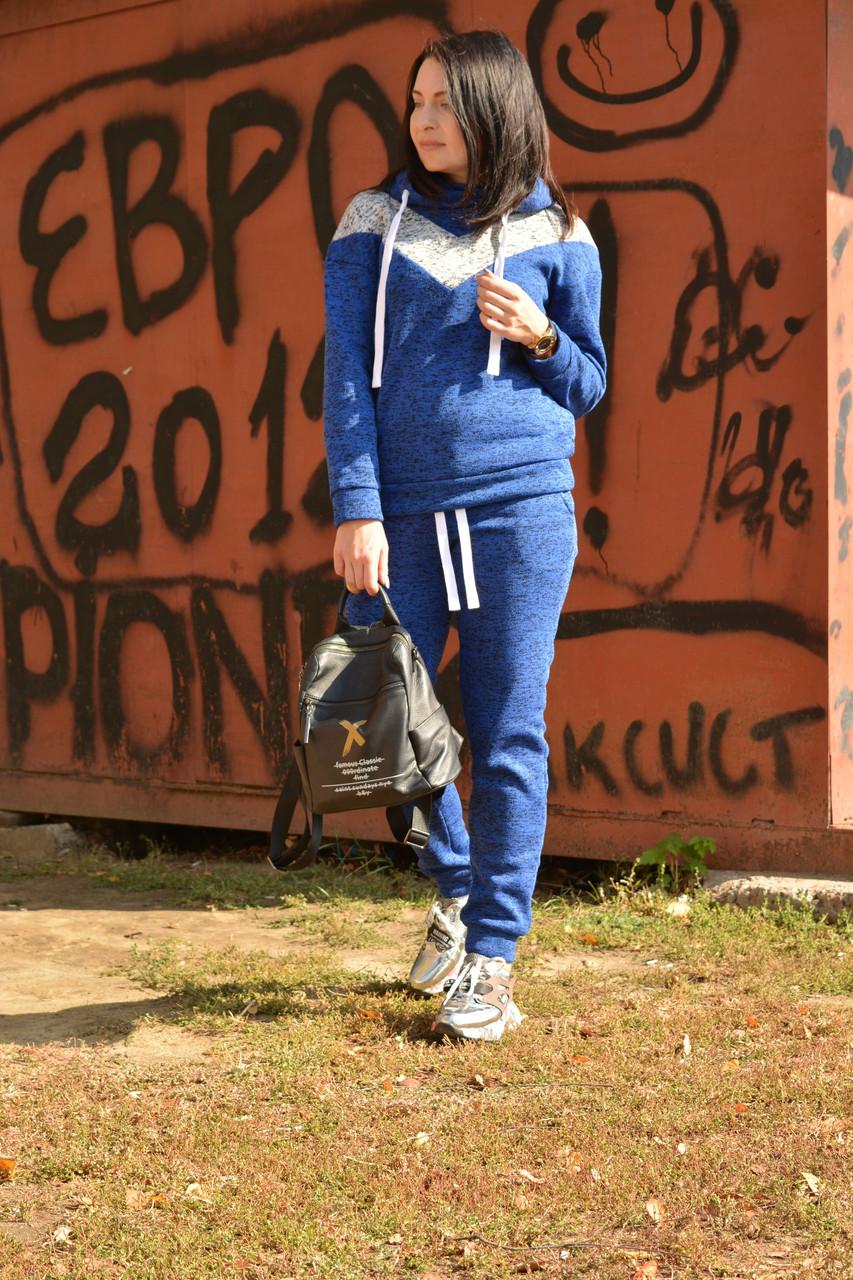 Теплый женский спортивный костюм на флисе из плетеного трикотажа 57spt796