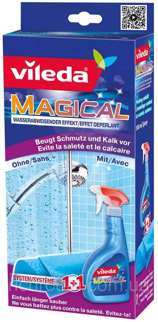 F1-00052, Очиститель спрей от известкового налета в ванной и душе + салфетка,  Vileda, синий