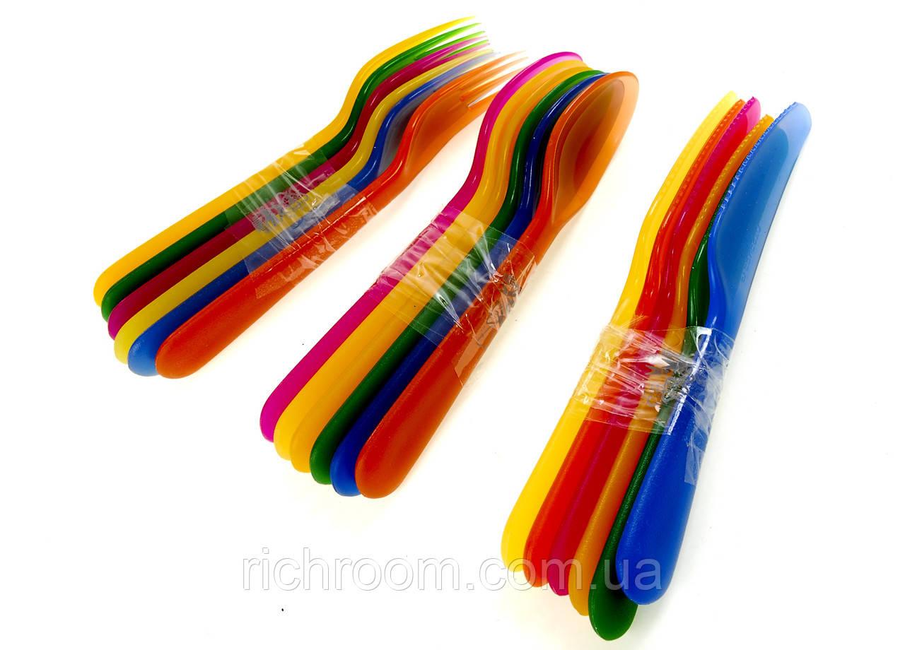 F1-00059, Набор пластиковых столовых приборов Ernestо, ложки, вилки, ножи, 18 шт, , разноцветный