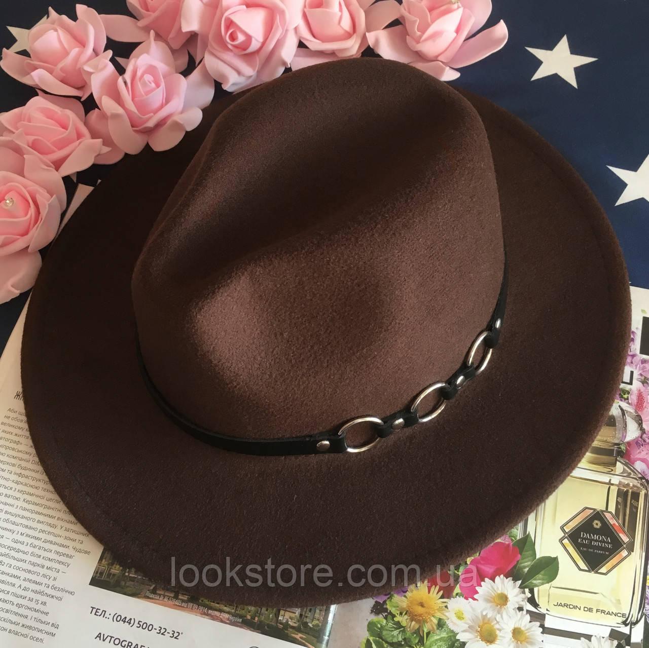 Шляпа Федора унисекс с устойчивыми полями Rings коричневая