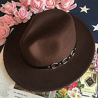 Шляпа Федора унисекс с устойчивыми полями Rings коричневая, фото 1